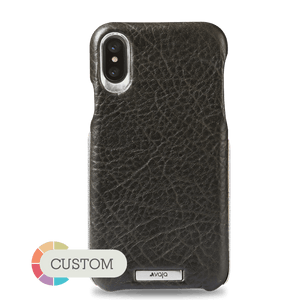 Customizable Grip Silver iPhone X / iPhone Xs Leather Case - Vaja