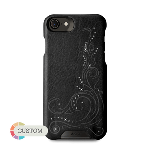 Customizable Grip Crystal - iPhone 8/SE leather case with Swarovski crystals - Vaja