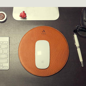 Leather Round Mouse Pad - Vaja