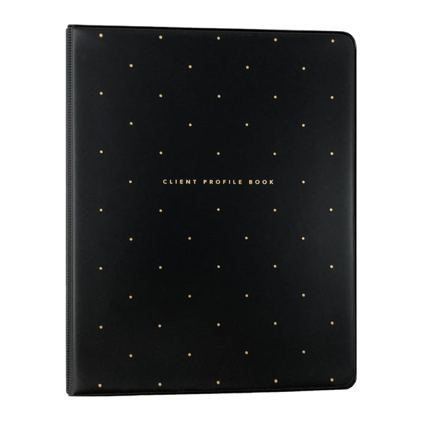 Front view of black salon client profile book with gold polkadots.