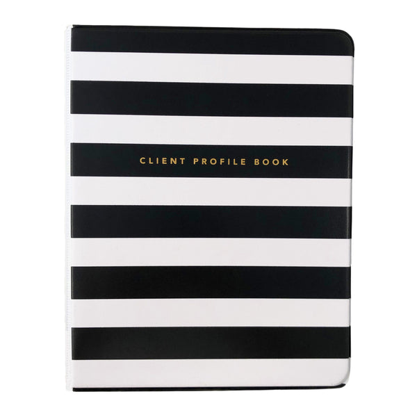 Front view of black and white striped salon client profile book