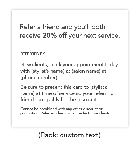 Personalized Stylist Referral Cards (Copper Metallic)