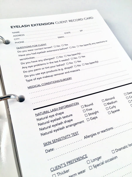 Eyelash extension client record card in binder