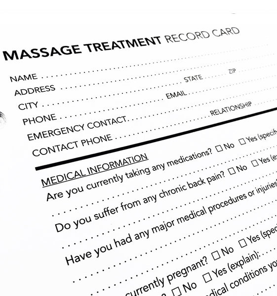 Client Record Cards - Massage Treatment