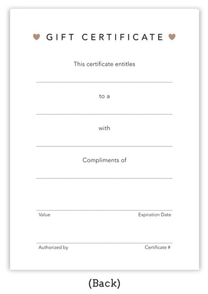 Gift Certificate, this certificate entitles, to a, with, compliments of, authorized by, certificate number, expiration date