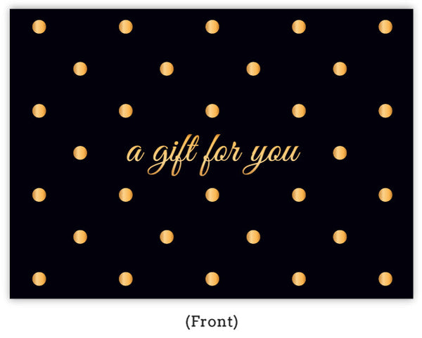 Gold polka dot gift certificate - FRONT