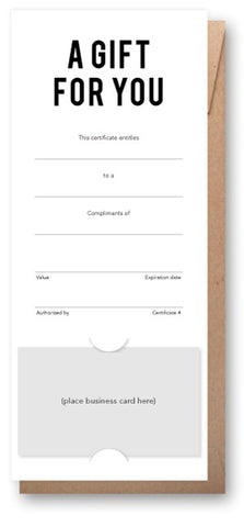 Vertical gift certificate with business card slits