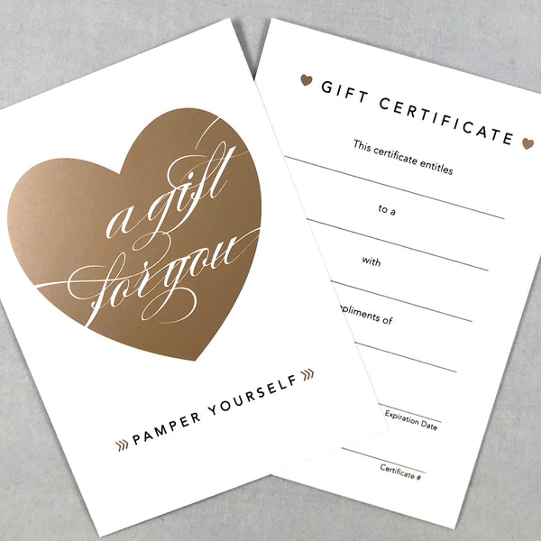 Salon gift certificate with heart design