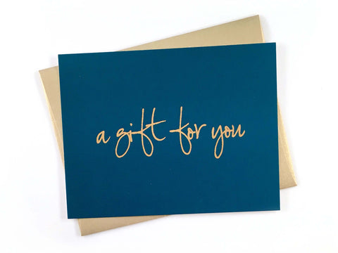 Blue gift certificate with gold envelope