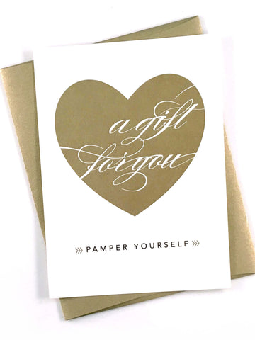 Gold heart gift certificate with gold envelope
