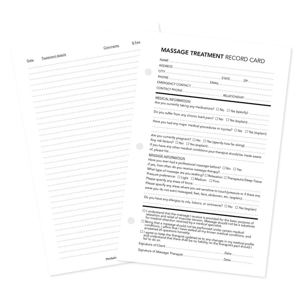 Front and backside of massage treatment client record card
