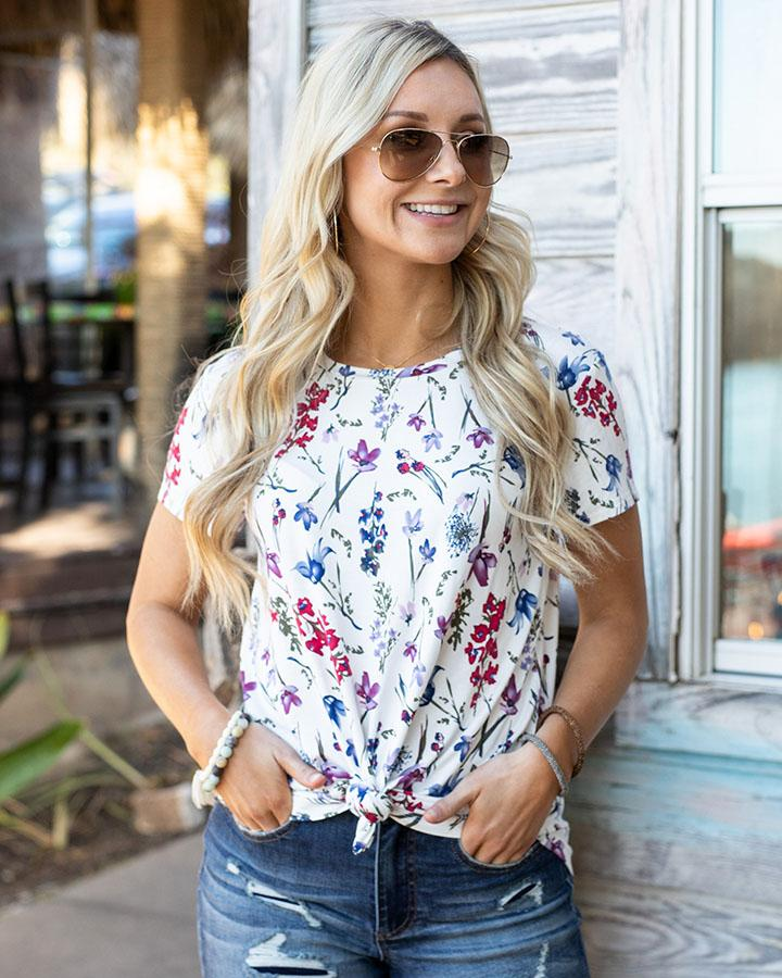 Grace and Lace Perfect Crew Neck Tee - Berry Blossom