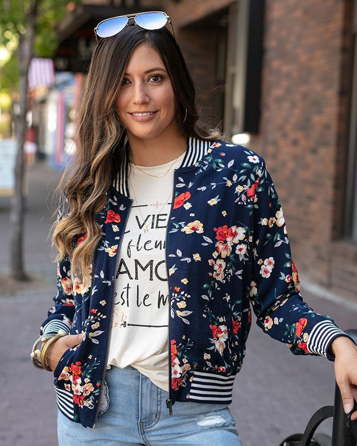 Grace and Lace Floral Bomber Jacket - Midnight Floral