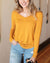 Grace and Lace Long Sleeve Perfect Pocket Tee - Goldenrod