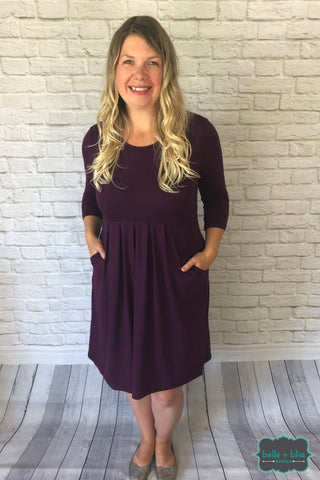 3/4 Sleeve Pleated Dress With Pockets - Dark Plum Dresses & Skirts