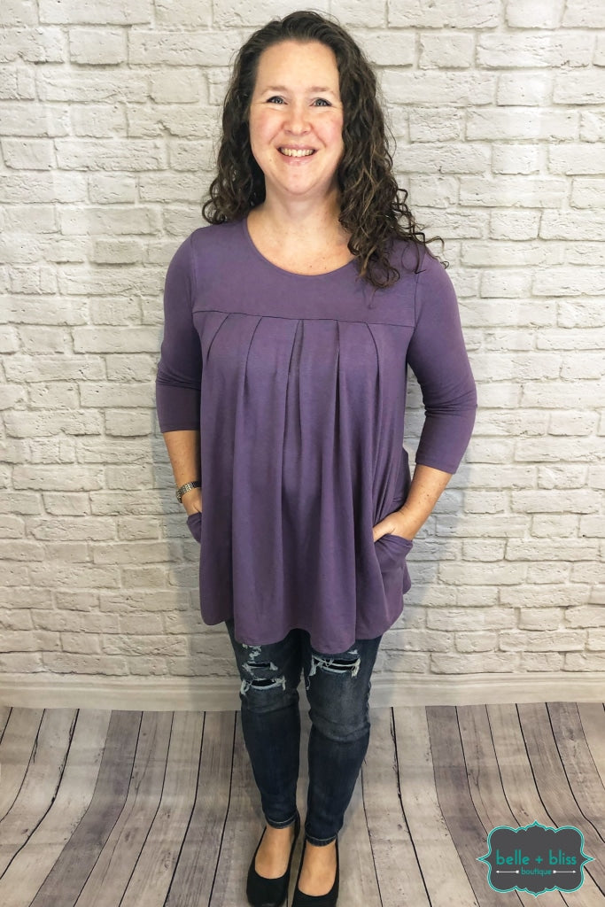 3/4 Sleeve Pleated Tunic With Pockets - Dark Lilac B+B Crew