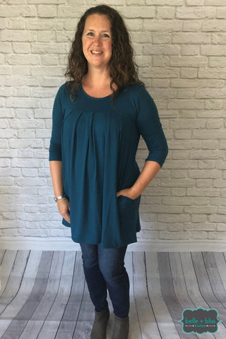 3/4 Sleeve Pleated Tunic With Pockets - Dark Teal Tops & Sweaters