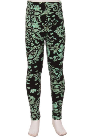 Mint Paisley Leggings (kids) - Belle + Bliss Boutique