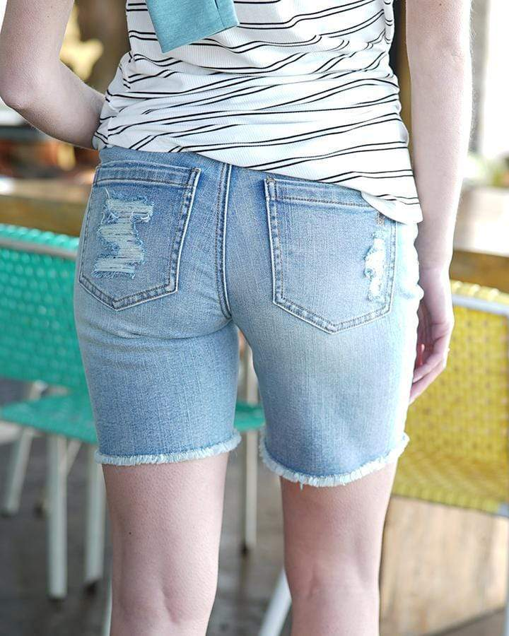"Grace & Lace 7"" Distressed Relaxed Fit Shorts - Vintage Mid Wash"