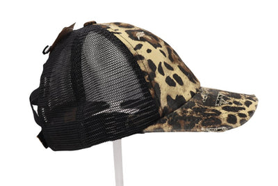Criss Cross Pony Cap - Leopard