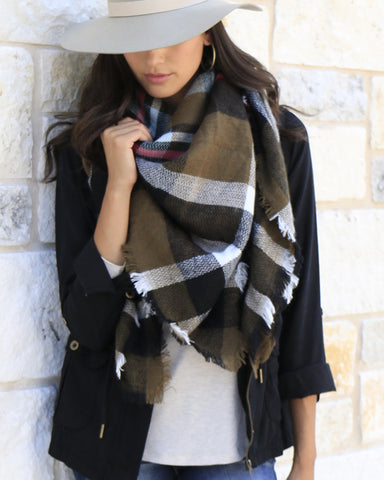 Grace and Lace Blanket Scarf/Toggle Poncho in Olive Plaid