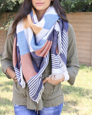 Grace and Lace Blanket Scarf/Toggle Poncho in Striped Edge Block