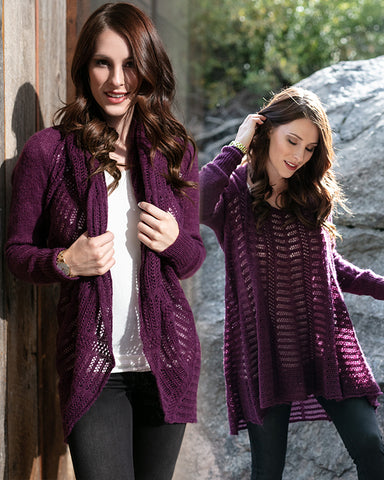Grace and Lace Cold Weather 2-Fit Knit Cardigan - Plum
