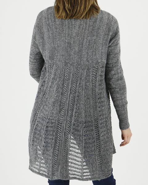 Grace and Lace Cold Weather 2-Fit Knit Cardigan - Marled Charcoal