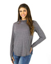 Grace and Lace Cover Up Cowl Neck Top - Charcoal