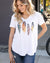 Grace and Lace Perfect V-Neck Graphic Tee - Fall Feather