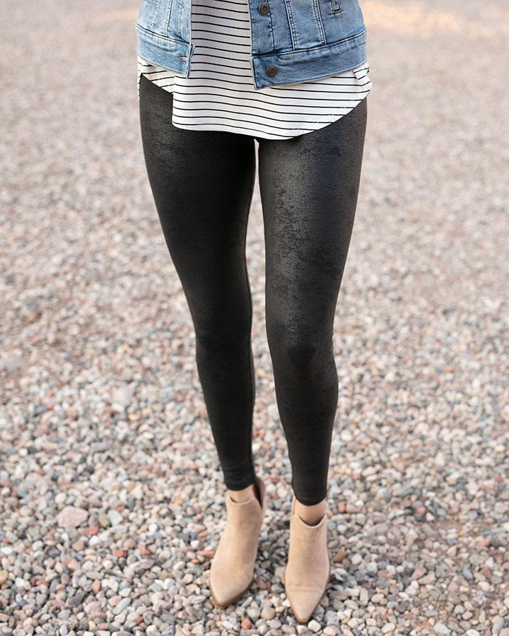 Grace and Lace Faux Leather Leggings - Black