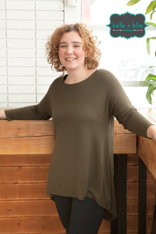 Hi-Low 3/4 Sleeve Tunic - MORE COLOURS