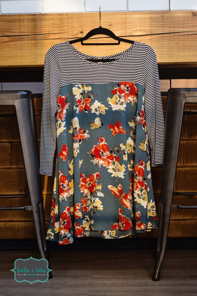 Floral and Stripe Tunic