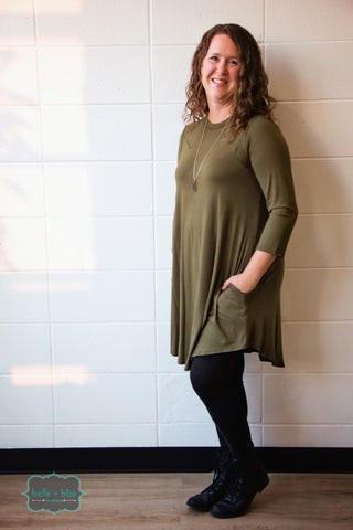 3/4 Sleeve Tunic with Pockets - Olive