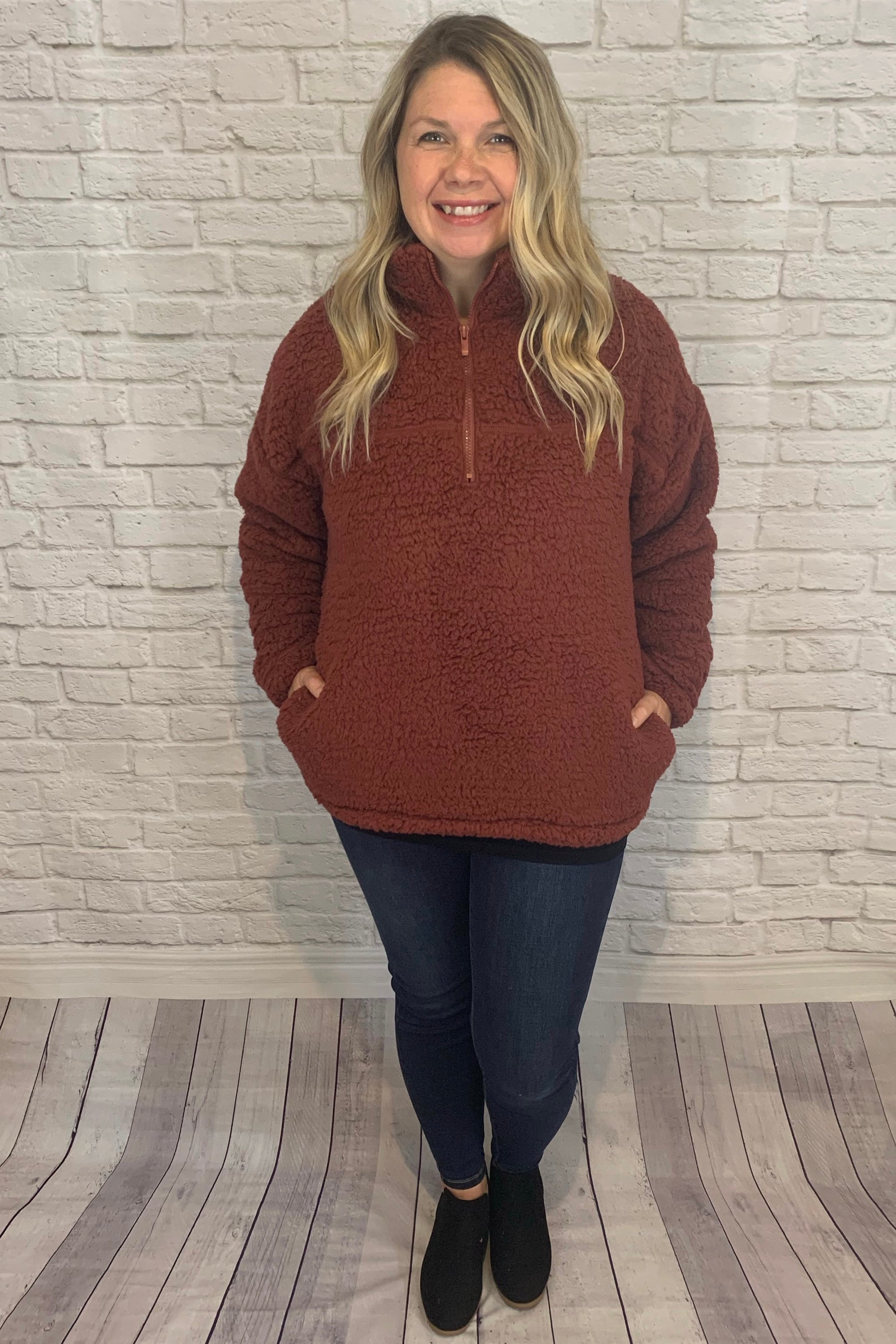 Plush Sherpa Half Zip Pullover with Pockets - Brick