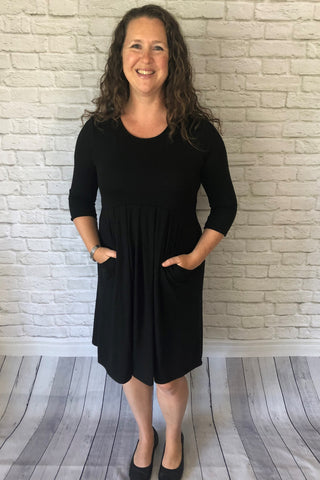 3/4 Sleeve Pleated Dress with Pockets - Black