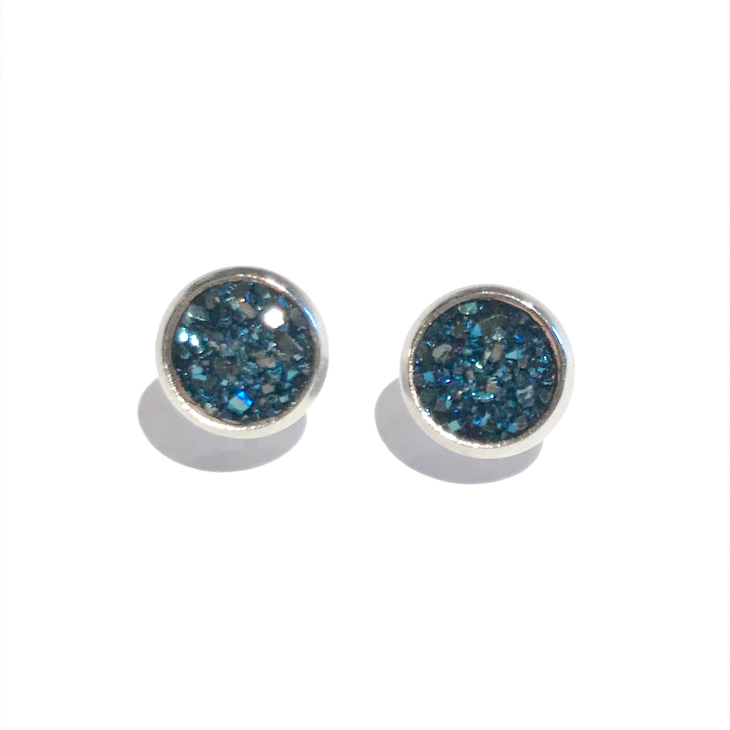 Silver with Navy Druzy - 8mm