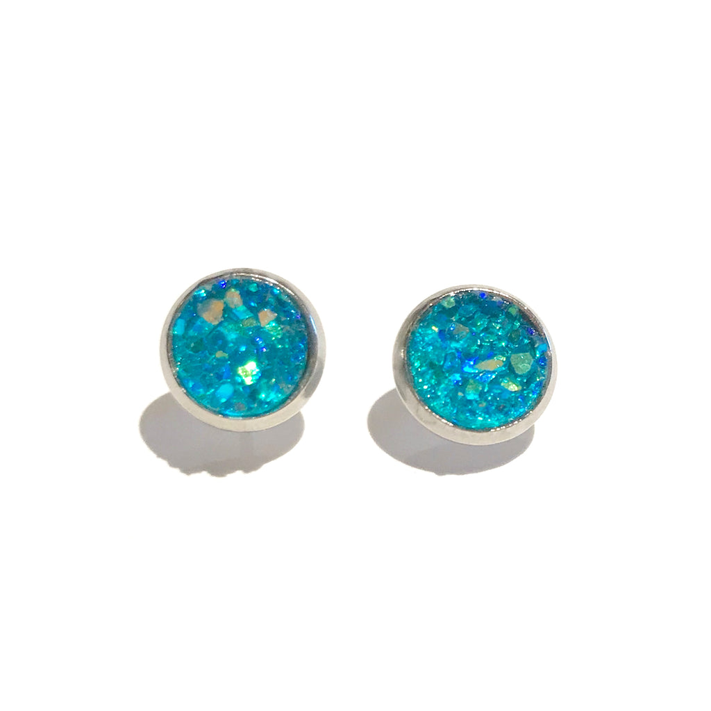 Silver with Teal Druzy - 8mm
