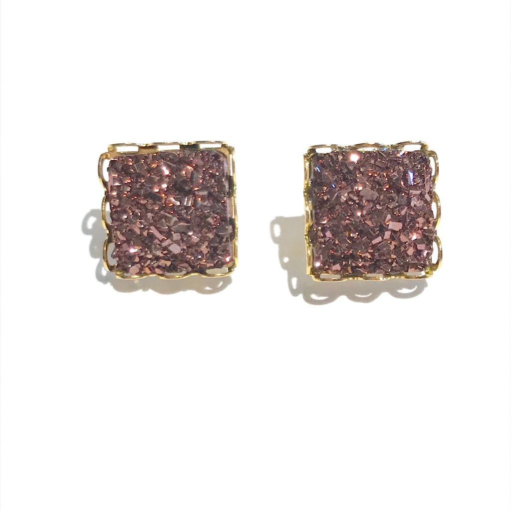Gold Square with Bronze Druzy - 10mm