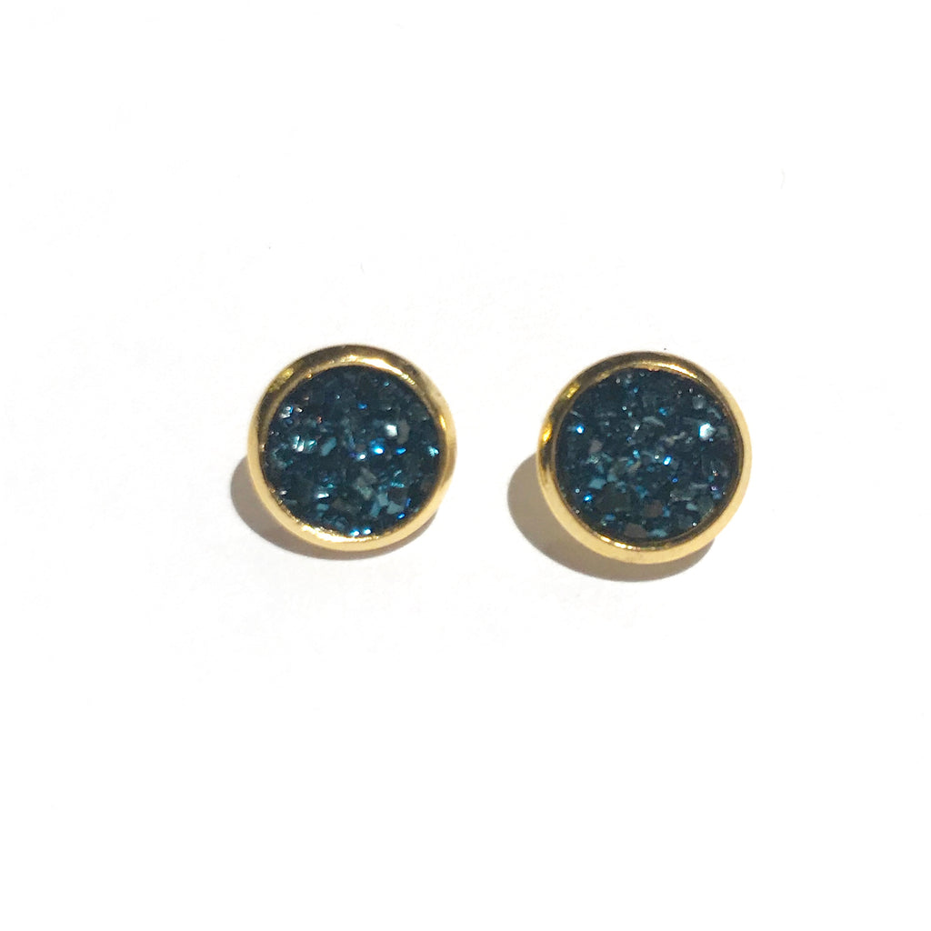 Gold with Navy Druzy - 8mm