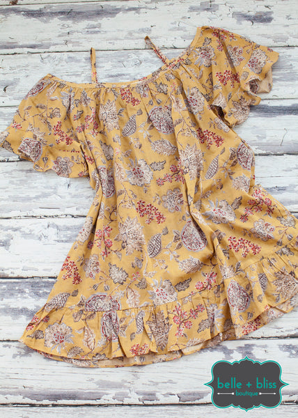 Off The Shoulder Floral Tunic - Yellow