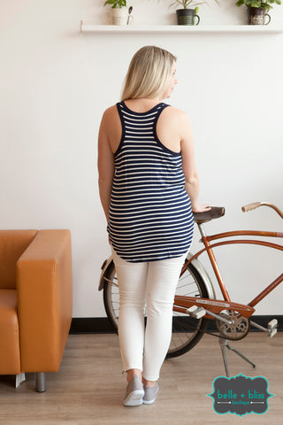 Striped Racerback Tank - Navy