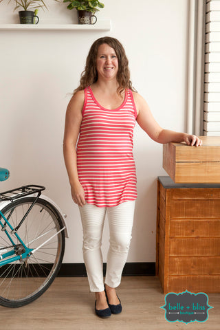 Striped Racerback Tank - Coral
