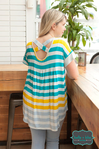 Striped Hi Low Criss Cross Back Tunic