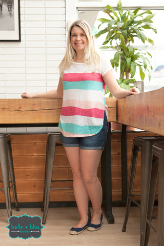 Striped Fine Knit Tunic - Pink and Blue