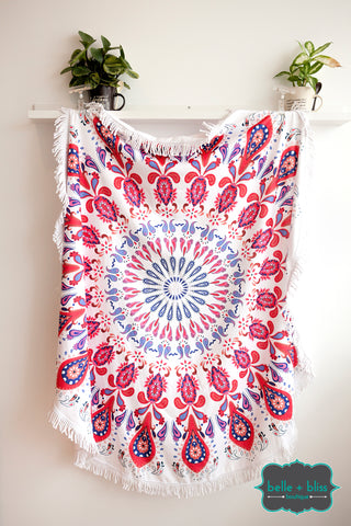 Round Towel - Red/Blue/Pink