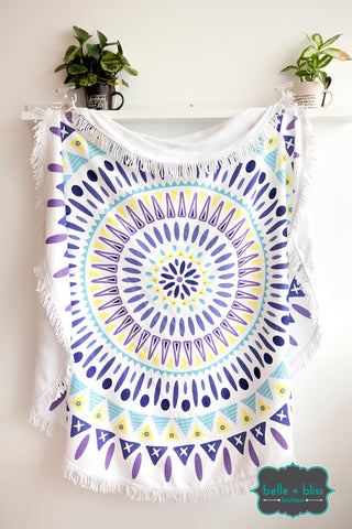 Round Towel - Purple/Yellow/Blue