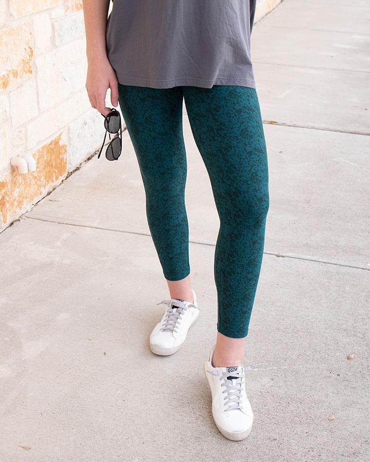 Grace and Lace Repurposed Live-In Leggings - Mid Length Cropped - Textured Teal
