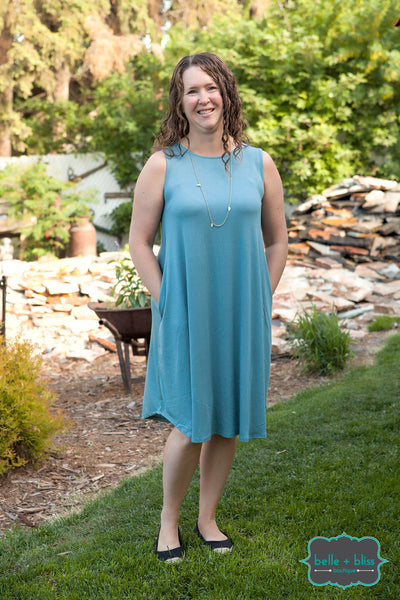 Sleeveless Dress with Pockets - Steel Blue