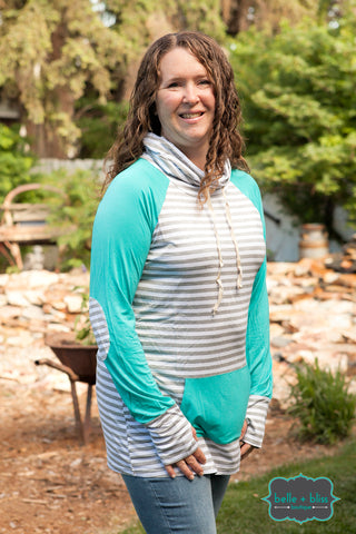 Striped Funnel Neck Pullover - Seaglass
